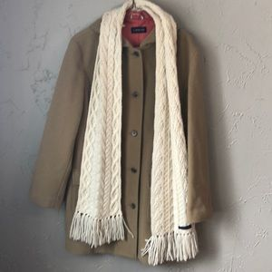 Lands End hooded wool coat & scarf. Size 10-12